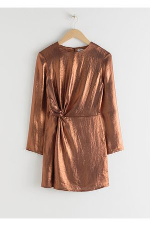 & OTHER STORIES Women Party Dresses - Metallic Satin Side Knot Mini Dress