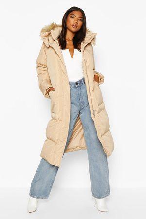 Boohoo Women Puffer Jackets - Womens Tall Faux Fur Hood Longline Padded Coat - - 2