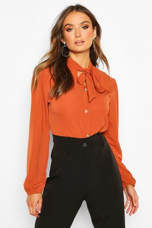 Boohoo Women Blouses - Womens Pussybow Button Through Volume Sleeve Blouse - - 4