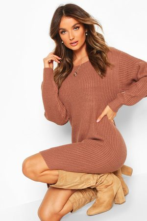 Boohoo Womens Slash Neck Fisherman Sweater Dress - - S