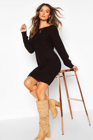 Boohoo Womens Slash Neck Fisherman Sweater Dress - - M