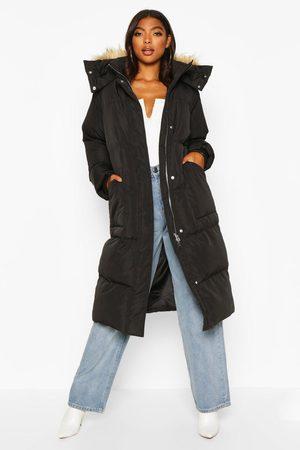 Boohoo Womens Tall Faux Fur Hood Longline Padded Coat - - 4
