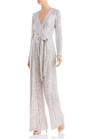 Eliza J Sequined Faux-Wrap Jumpsuit