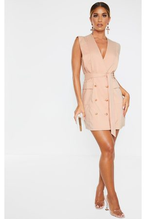 PRETTYLITTLETHING Nude Sleeveless Gold Button Detail Blazer Dress