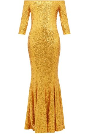 Norma Kamali Mermaid-hem Off-the-shoulder Sequinned Dress - Womens