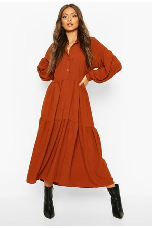 Boohoo Womens Oversized Tiered Maxi Shirt Dress - - 4