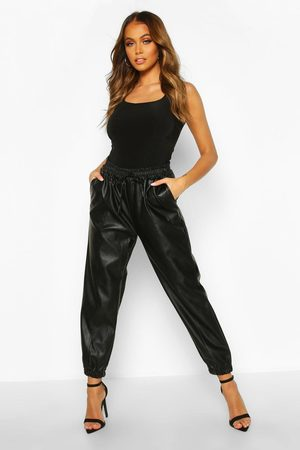 Boohoo Womens Seam Front Leather Look Luxe Joggers - - 4