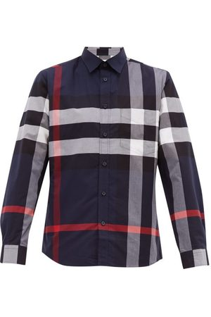 Burberry Somerton Check Stretch Cotton Poplin Shirt - Mens - Navy Multi