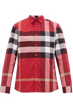 Burberry Somerton Nova-check Cotton-blend Poplin Shirt - Mens - Multi