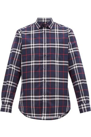 Burberry Caxton Checked Cotton-poplin Shirt - Mens - Navy Multi