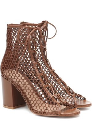 Gianvito Rossi Fishnet and leather ankle boots