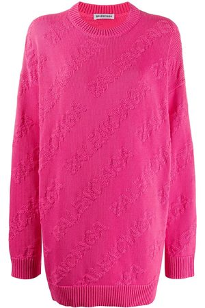 Balenciaga Women Sweaters - Textured logo crew neck jumper