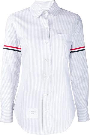 Thom Browne Vertical-stripe RWB-detail shirt - Grey