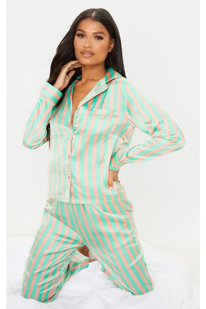 PRETTYLITTLETHING Sage Striped Satin Button Up Long Pyjama Set