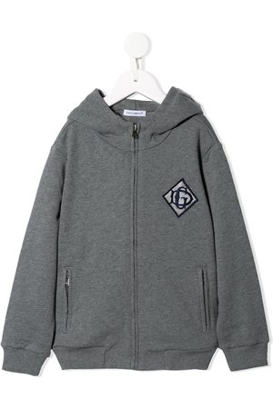 Dolce & Gabbana DG detail zip hoodie - Grey