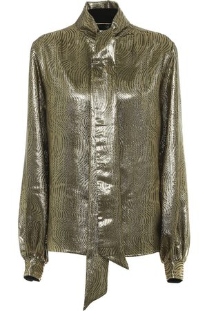 Saint Laurent Silk-blend lamé blouse
