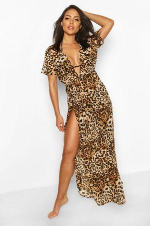 Boohoo Womens Leopard Print Maxi Beach Kaftan - - S