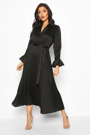 Boohoo Women Maxi Dresses - Womens Satin Pleated Midaxi Dress - - 4