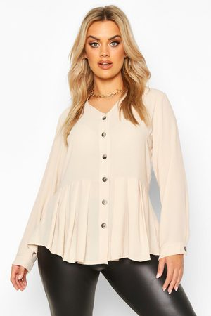 Boohoo Womens Plus Pleated Button Detail Peplum Shirt - - 12