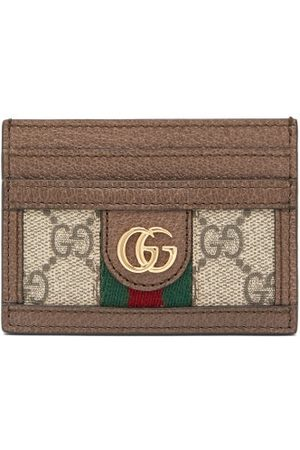Gucci Ophidia Gg Plaque Leather Cardholder - Womens - Grey Multi