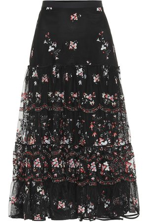 Tory Burch Embroidered tulle midi skirt
