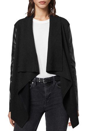 AllSaints Lucia Leather-Panel Cardigan