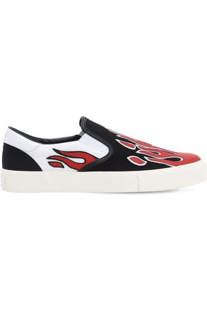 AMIRI Leather Flame Cotton Canvas Slip-ons