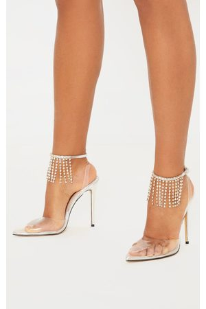 PRETTYLITTLETHING Diamante Tassel Clear Court Shoe