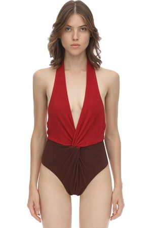Self-Portrait Halter Seersucker One Piece Swimsuit