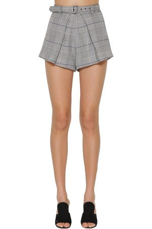 Self-Portrait Houndstooth Viscose Blend Shorts