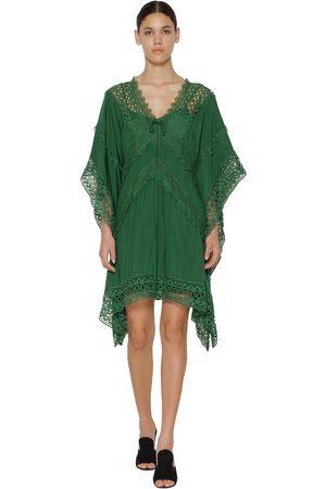 Self-Portrait Lace Viscose Chiffon Midi Dress