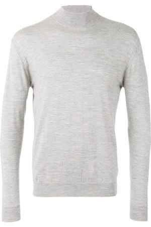 N.PEAL Men Sweatshirts - Fine gauge mock turtle neck jumper - Grey