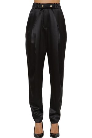 Balmain High Waist Wide Leg Silk Satin Pants