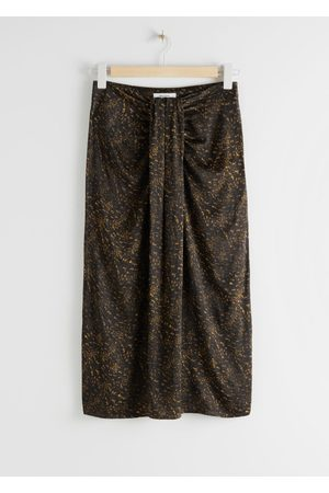 & OTHER STORIES Graphic Animal Print Draped Midi Skirt
