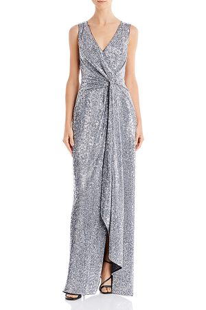 Aidan Mattox Sequin Twist-Front Gown