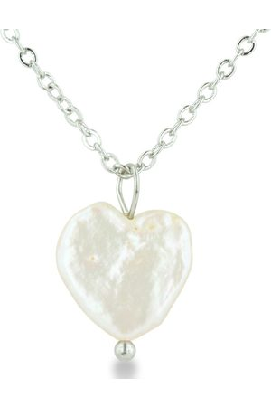 SuperJeweler Women Necklaces - Heart Shaped Natural Freshwater Pearl On 18 Inch Plated Necklace by