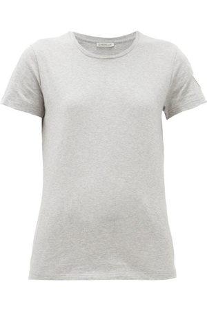 Moncler Logo Appliqué Cotton T Shirt - Womens - Grey