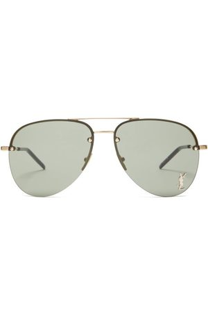 Saint Laurent Logo Plaque Aviator Metal Sunglasses - Mens