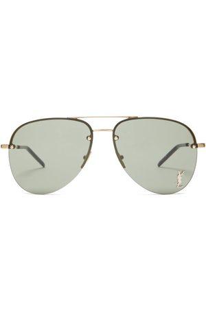 Saint Laurent Men Aviators - Logo-plaque Aviator Metal Sunglasses - Mens