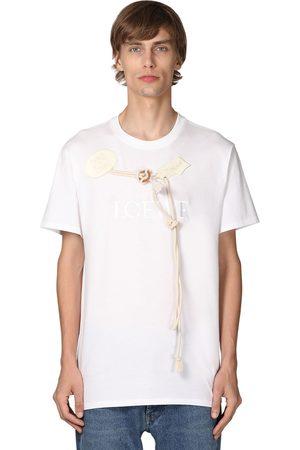 Loewe Men T-shirts - Logo Embroidered Cotton Jersey T-shirt