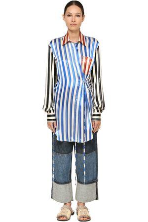 Loewe Long Stripe Printed Silk Satin Shirt