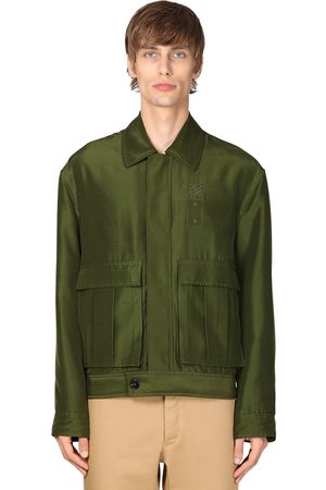 Loewe Men Jackets - Logo Embroidered Silk Jacket