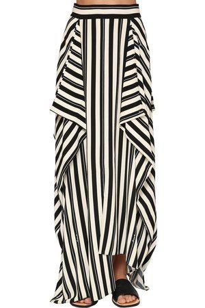 Loewe Long Panel Stripe Printed Crepe Skirt