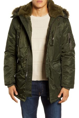 Schott NYC Men's Satin Flight Parka With Removable Faux Fur Lining