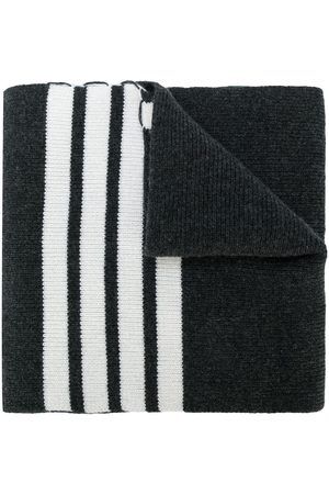 Thom Browne Full Needle Rib Scarf With White 4-Bar Stripe In Cashmere - Grey