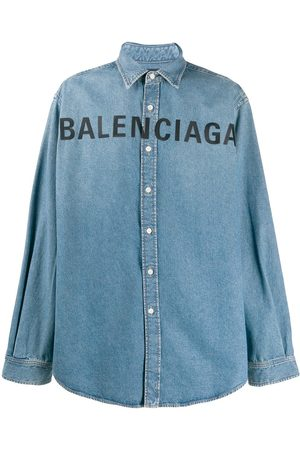 Balenciaga Embroidered logo denim shirt