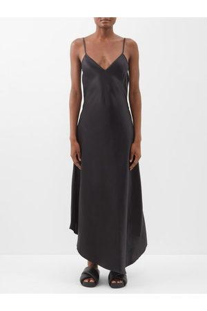 Raey Dip Hem Silk Satin Slip Dress - Womens