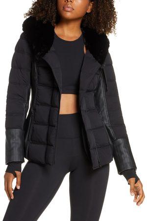 Blanc Noir Women's Hooded Moto Puffer Jacket With Faux Fur Trim