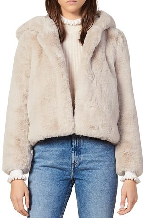 Sandro Women Coats - Mirage Hooded Faux-Fur Coat