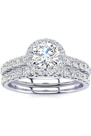 SuperJeweler 1/2 Carat Round Moissanite Halo Bridal Ring Set in 14K (5.30 g)